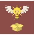 Flying light bulb vector image