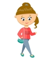 Girl Walks in Sweater and Jeans vector image
