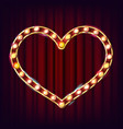golden heart frame glowing light bulbs vector image