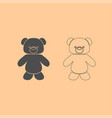 little bear dark grey set icon vector image