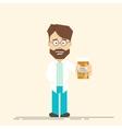 Happy doctor of medicine in his hands Doctor vector image