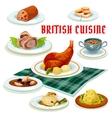 British cuisine cartoon icon for restaurant design vector image