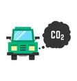 big green truck emits carbon dioxide vector image