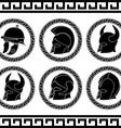 set of ancient helmets vector image vector image