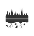 black icon on white background land roots vector image vector image