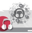Hand drawn headphones icons with icons background vector image vector image