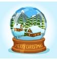 Snow Globe Merry Christmas Card vector image
