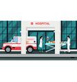 Ambulances took the injured vector image