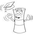 Cartoon diploma giving thumbs up vector image