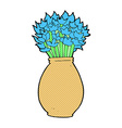 comic cartoon vase of flowers vector image