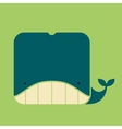 Flat square icon of a cute whale vector image