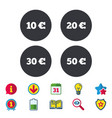 Money in euro icons ten twenty fifty eur vector image