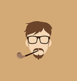 tobacco pipe hipster guy vector image