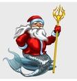 Triton Santa Claus with a Golden Trident vector image