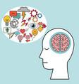 profile human head brain learn creativity vector image