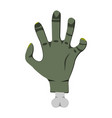 deadmans hand cartoon icon on green background vector image