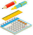 Isometric fountain penpencil calendar and ruler on vector image