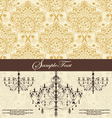 vintage damask invitation card with chandelier vector image vector image