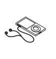 dotted shape technology mp3 with headphones to vector image