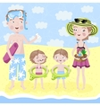 Family on holiday by the sea vector image
