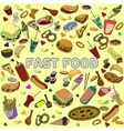 Fast food design line art vector image