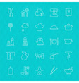 Kitchenware and Cooking Tools Line Icons Set over vector image