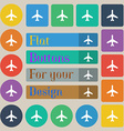 Plane icon sign Set of twenty colored flat round vector image