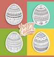 Set of easter eggs stickers with fantasy patterns vector image
