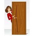 woman behind the door vector image