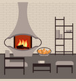 modern fireplace in the interior living room vector image