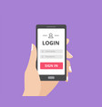 hand holding smart phone with user login form page vector image