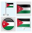 Jordan flag - sticker button label flagstaff vector image vector image