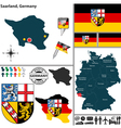 Map of Saarland vector image vector image