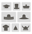 monochrome icons with different hats vector image
