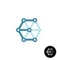 Letter E cube 3D tech wireframe logo vector image