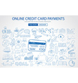 Online credit card payment concept with Doodle vector image vector image