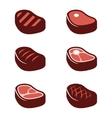 flat steak icons set vector image