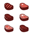 flat steak icons set vector image