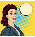 Happy Businesswoman Bubble for Expression Pop Art vector image