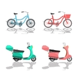 Isolated Scooter Motorbike and Bicycle vector image