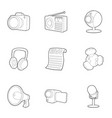news icons set outline style vector image