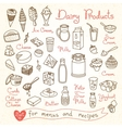 Set drawings of milk and dairy products for design vector image