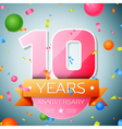 Ten years anniversary celebration background vector image