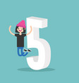 Number five concept young winking teenager vector image