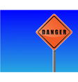 traffic sign danger sky background vector image vector image