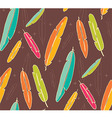 Bohemian colorful feathers hand drawn seamless vector image