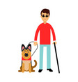 blind man in dark glasses with walking stick and vector image