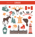 canada attributes colorful set on white vector image