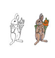 Rabbit carry bag that full with carrot vector image