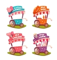 Set of fast food carts Icecream cotton candy vector image